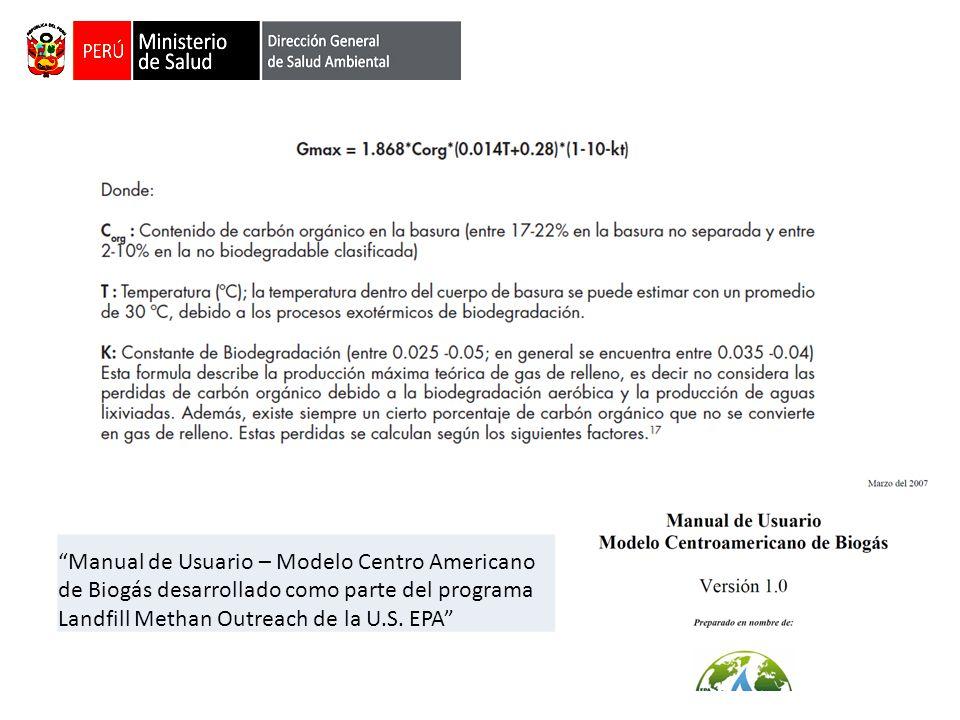Manual de Usuario – Modelo Centro Americano de Biogás desarrollado como parte del programa Landfill Methan Outreach de la U.S.