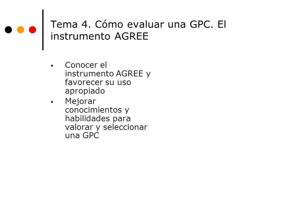 Tema 4. Cómo evaluar una GPC. El instrumento AGREE