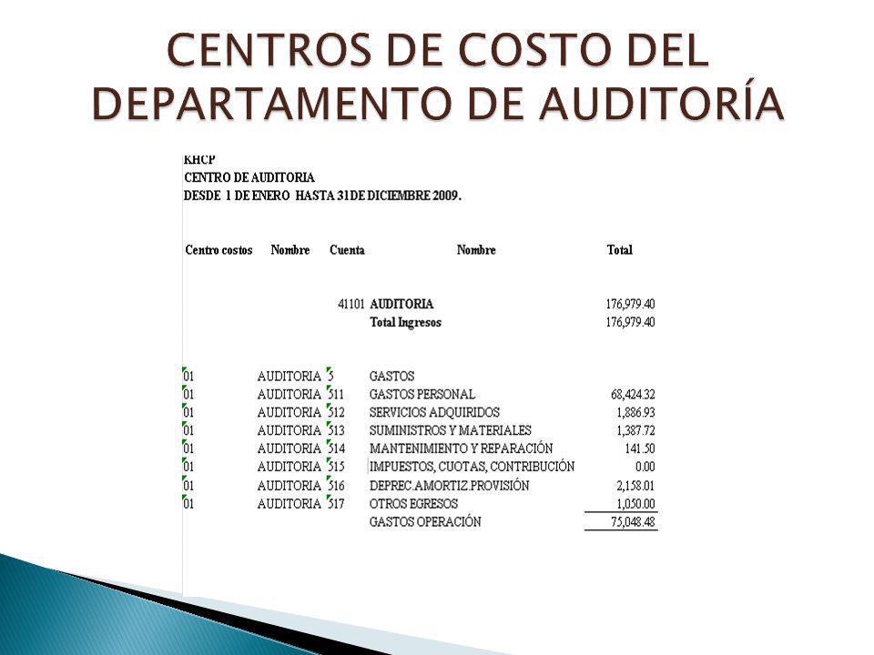 CENTROS DE COSTO DEL DEPARTAMENTO DE AUDITORÍA