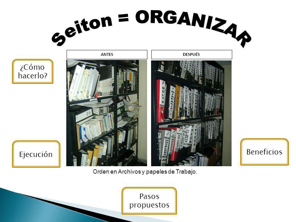 Orden en Archivos y papeles de Trabajo.