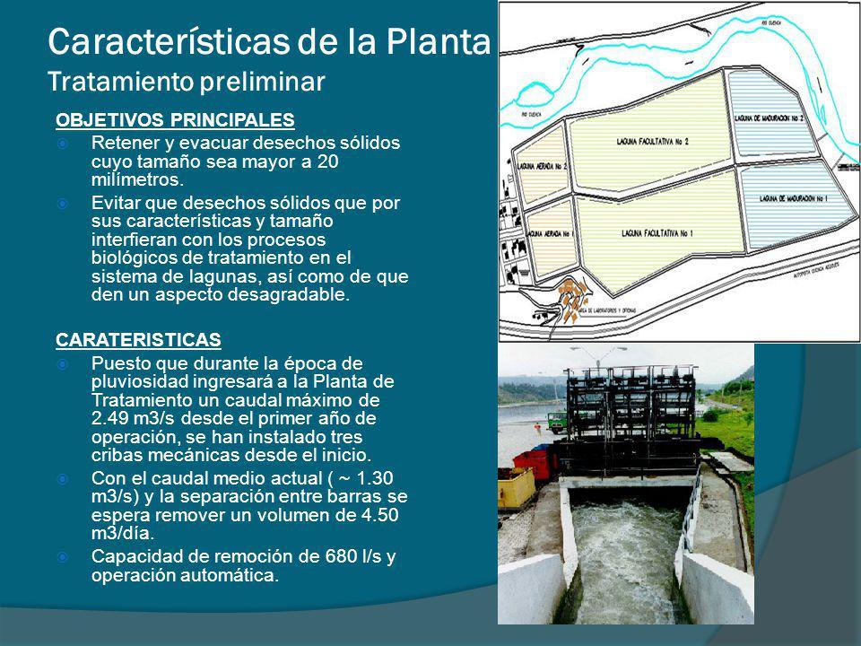 Características de la Planta Tratamiento preliminar