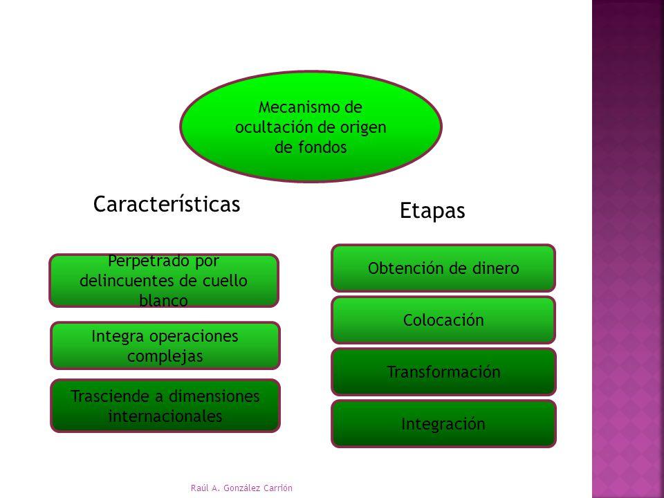 Etapas Características Mecanismo de ocultación de origen de fondos