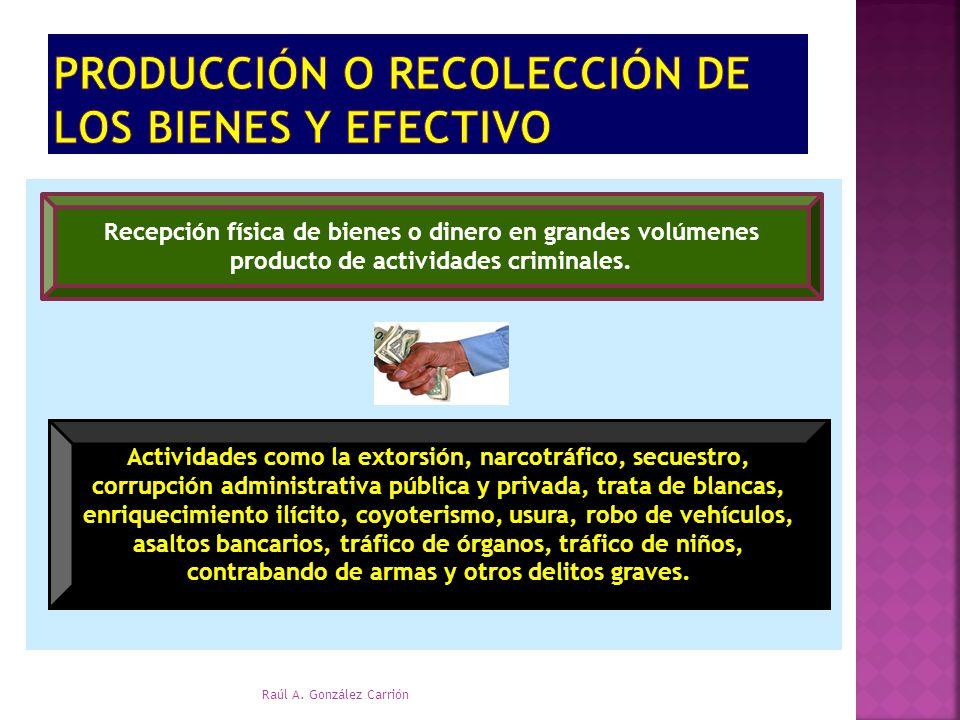 Producción o recolección de los bienes y efectivo