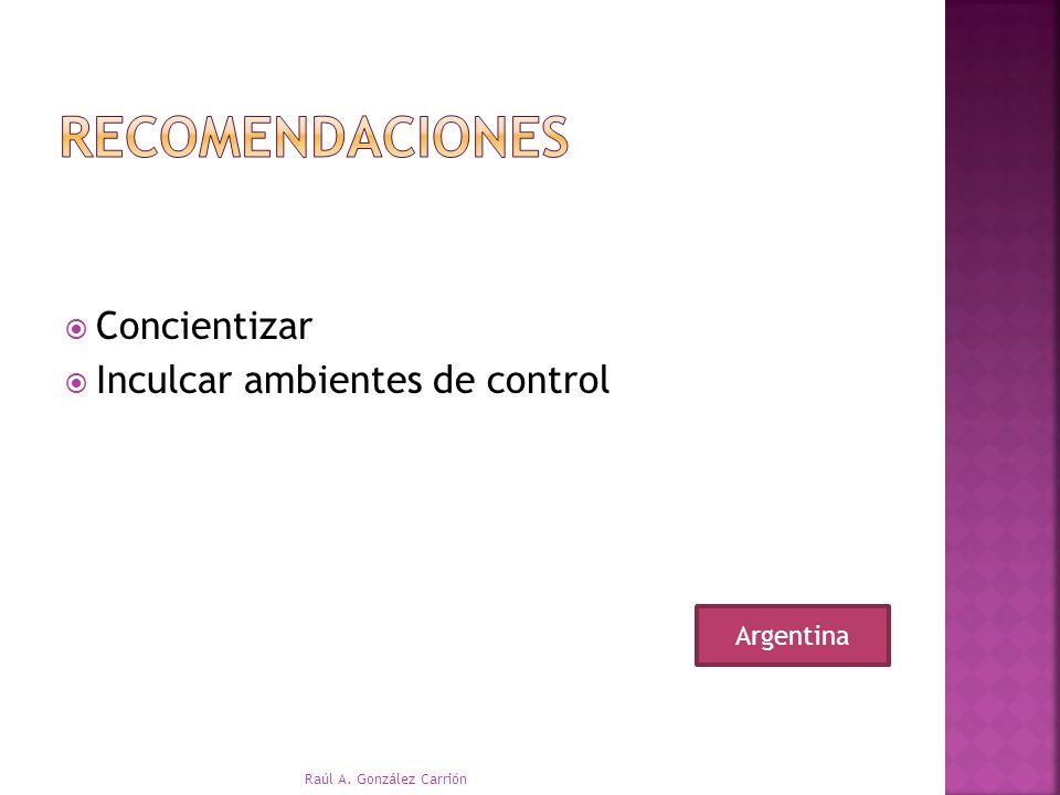 recomendaciones Concientizar Inculcar ambientes de control Argentina