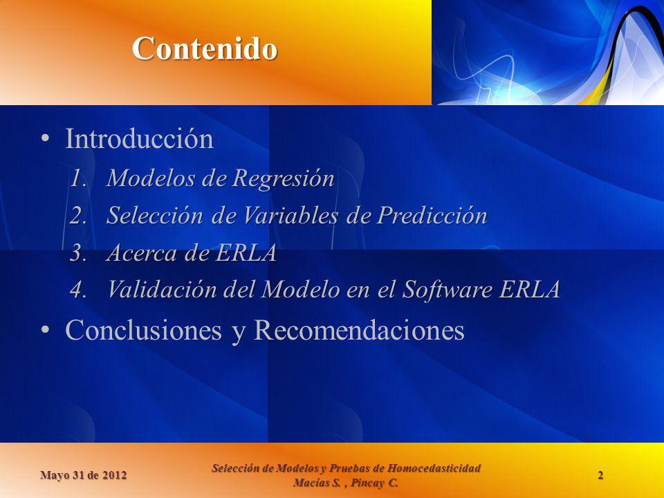 Contenido Introducción Conclusiones y Recomendaciones