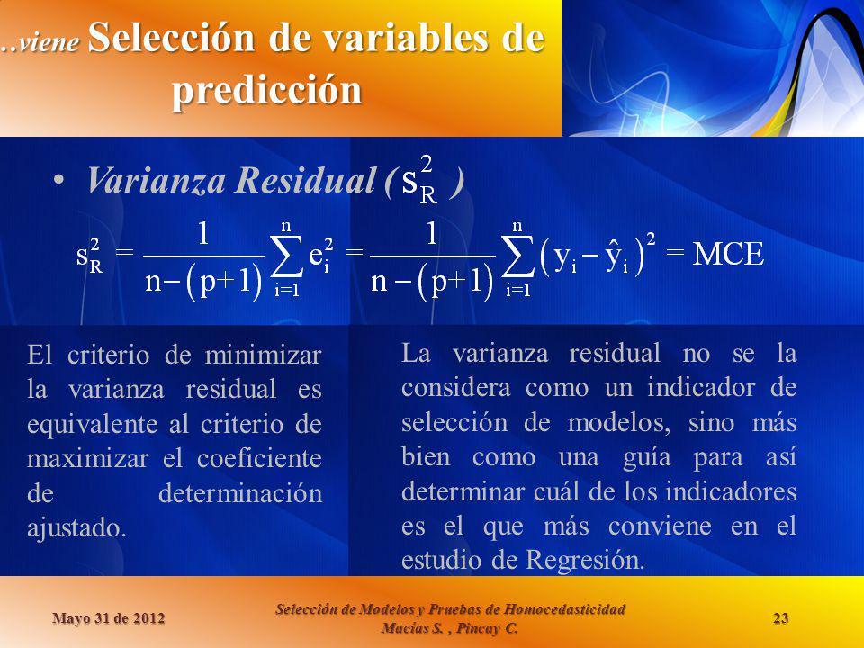 …viene Selección de variables de predicción
