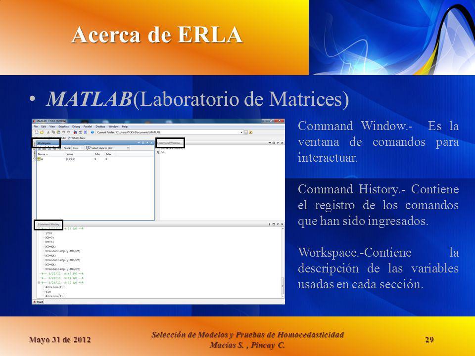 Acerca de ERLA MATLAB(Laboratorio de Matrices)
