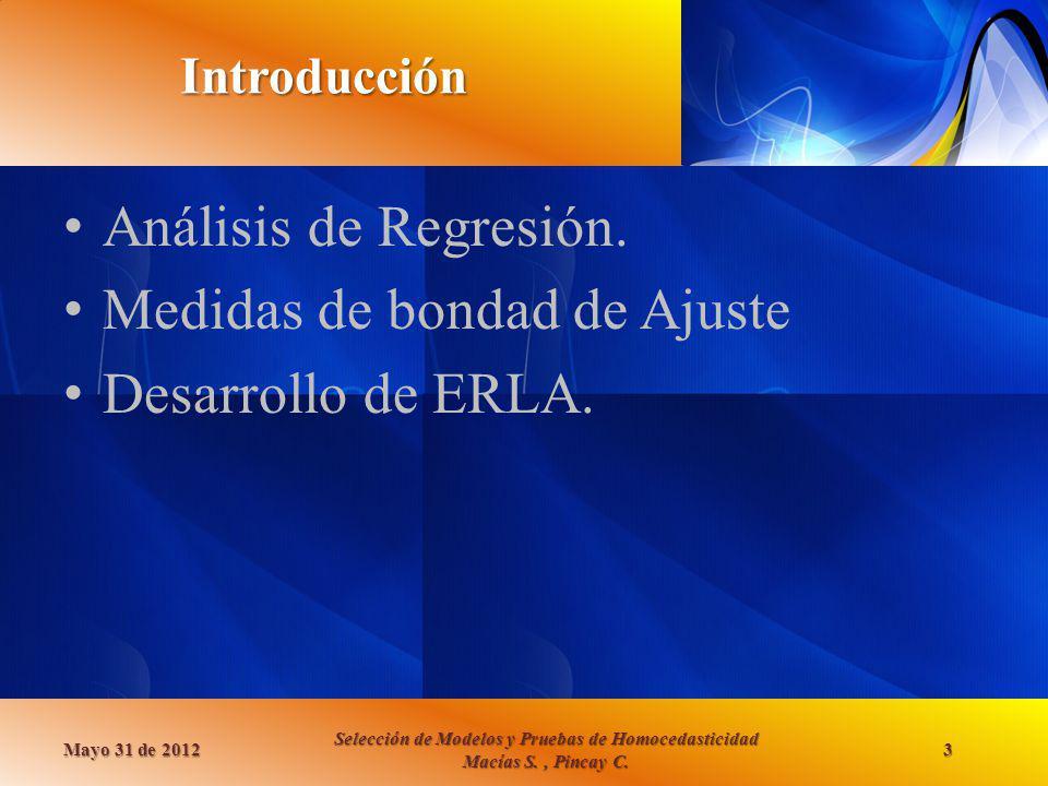 Medidas de bondad de Ajuste Desarrollo de ERLA.