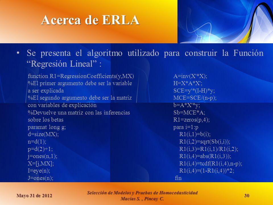 Acerca de ERLA Se presenta el algoritmo utilizado para construir la Función Regresión Lineal : function R1=RegressionCoefficients(y,MX)