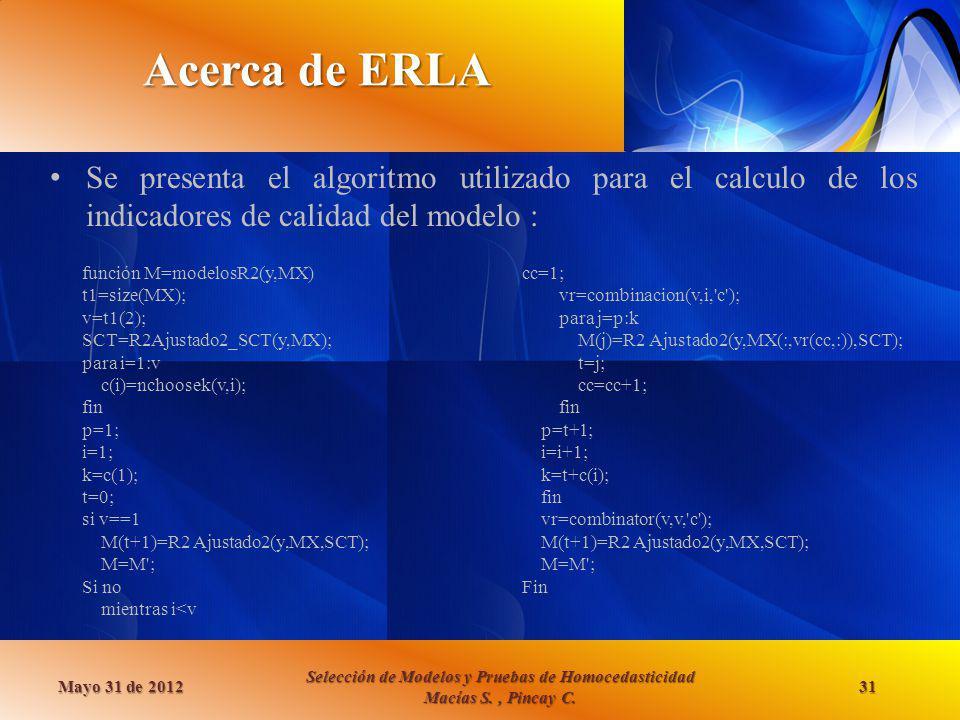 Acerca de ERLA Se presenta el algoritmo utilizado para el calculo de los indicadores de calidad del modelo :