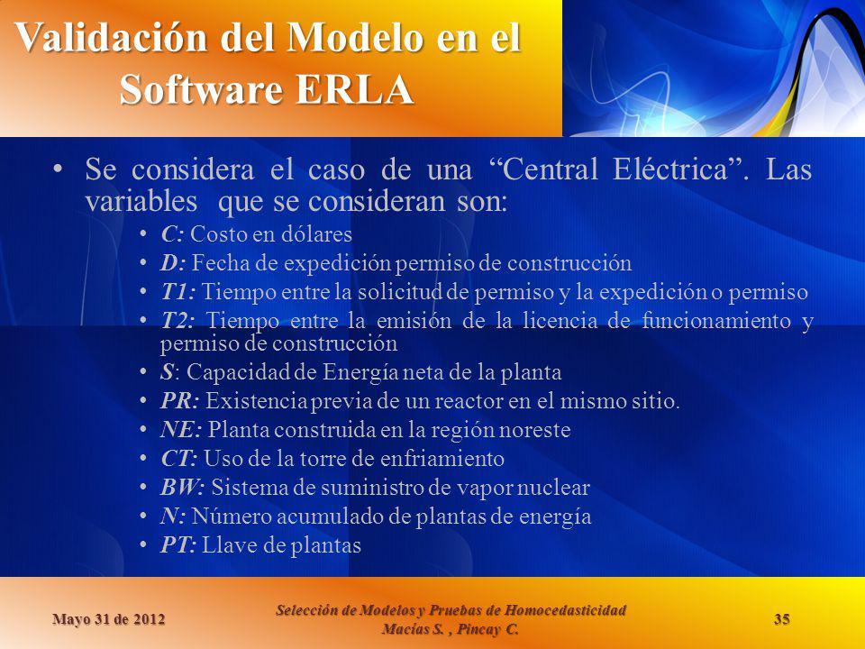 Validación del Modelo en el Software ERLA