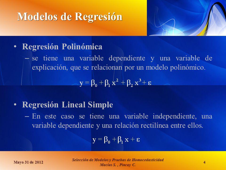 Modelos de Regresión Regresión Polinómica Regresión Lineal Simple