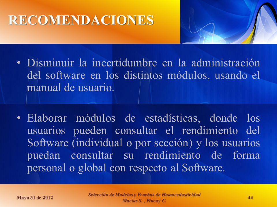 RECOMENDACIONES Disminuir la incertidumbre en la administración del software en los distintos módulos, usando el manual de usuario.