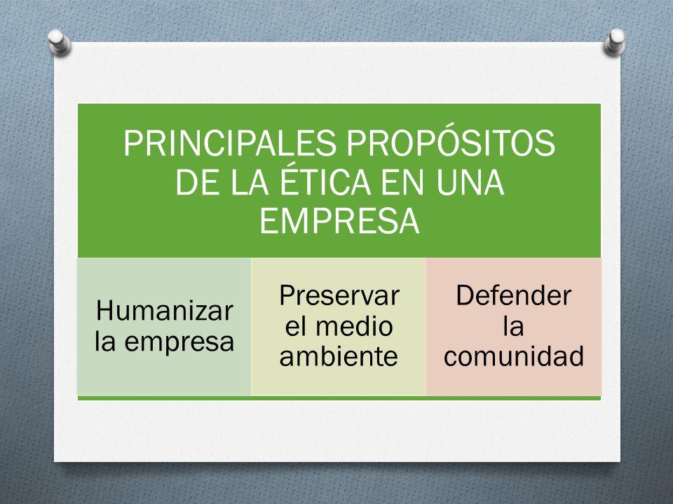 PRINCIPALES PROPÓSITOS DE LA ÉTICA EN UNA EMPRESA