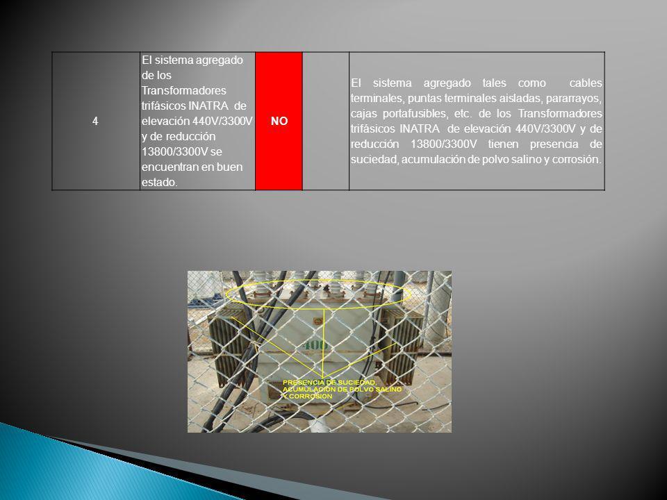 4 El sistema agregado de los Transformadores trifásicos INATRA de elevación 440V/3300V y de reducción 13800/3300V se encuentran en buen estado.