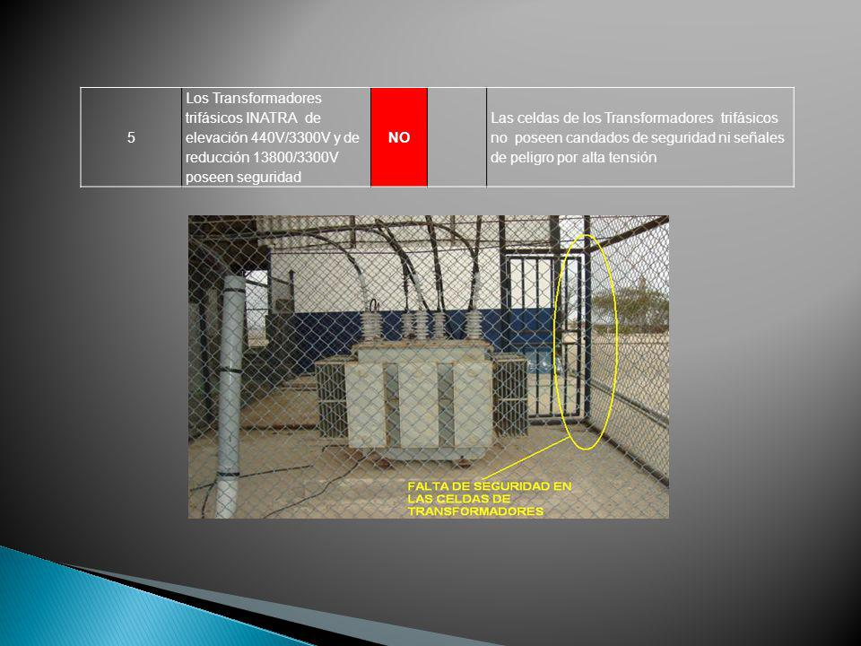 5 Los Transformadores trifásicos INATRA de elevación 440V/3300V y de reducción 13800/3300V poseen seguridad.