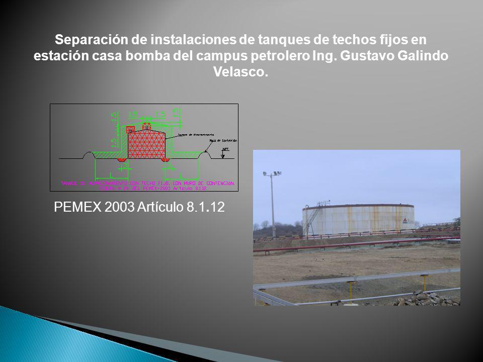 Separación de instalaciones de tanques de techos fijos en estación casa bomba del campus petrolero Ing. Gustavo Galindo Velasco.