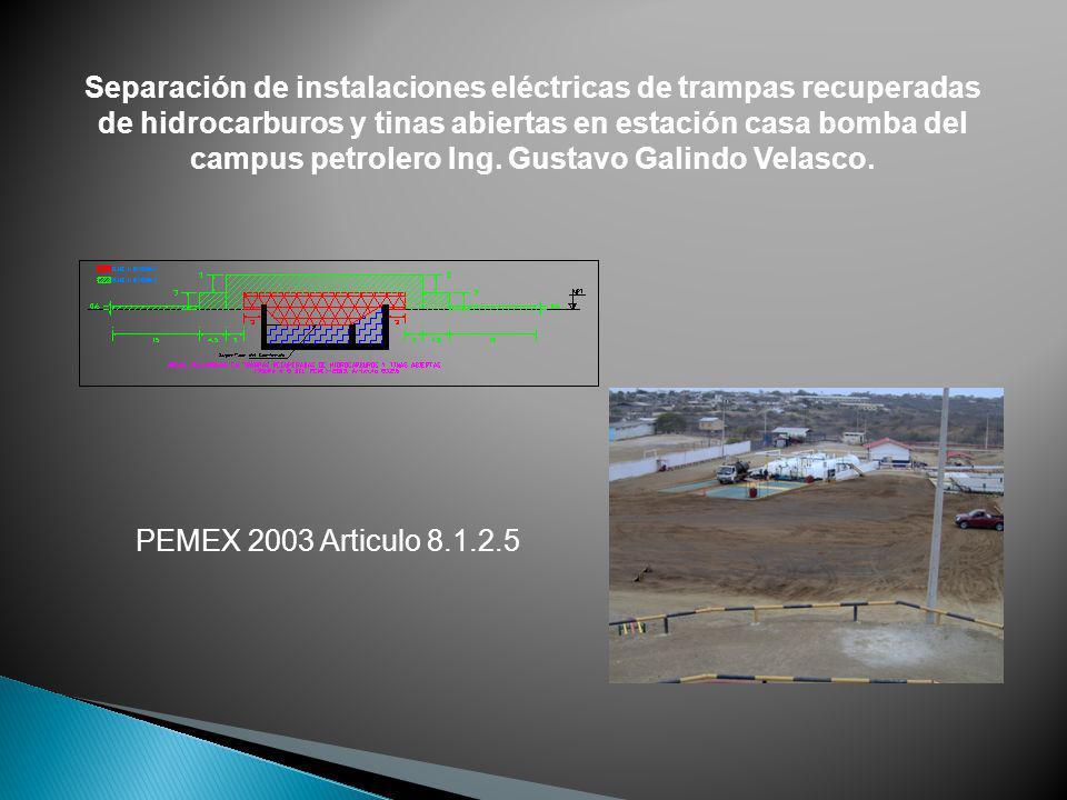 Separación de instalaciones eléctricas de trampas recuperadas de hidrocarburos y tinas abiertas en estación casa bomba del campus petrolero Ing. Gustavo Galindo Velasco.