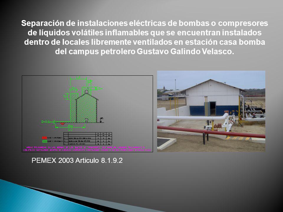 Separación de instalaciones eléctricas de bombas o compresores de líquidos volátiles inflamables que se encuentran instalados dentro de locales libremente ventilados en estación casa bomba del campus petrolero Gustavo Galindo Velasco.