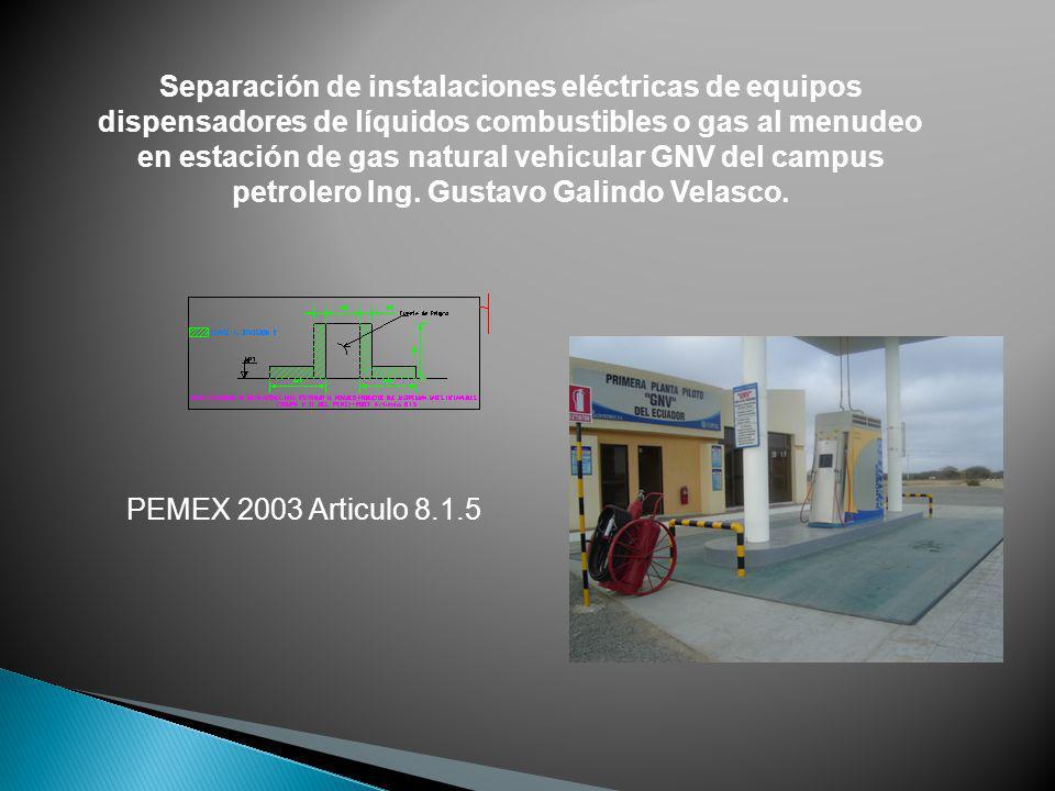 Separación de instalaciones eléctricas de equipos dispensadores de líquidos combustibles o gas al menudeo en estación de gas natural vehicular GNV del campus petrolero Ing. Gustavo Galindo Velasco.