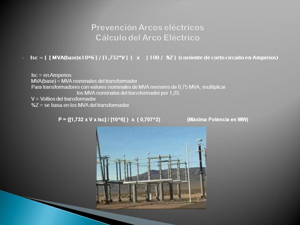 Prevención Arcos eléctricos Cálculo del Arco Eléctrico