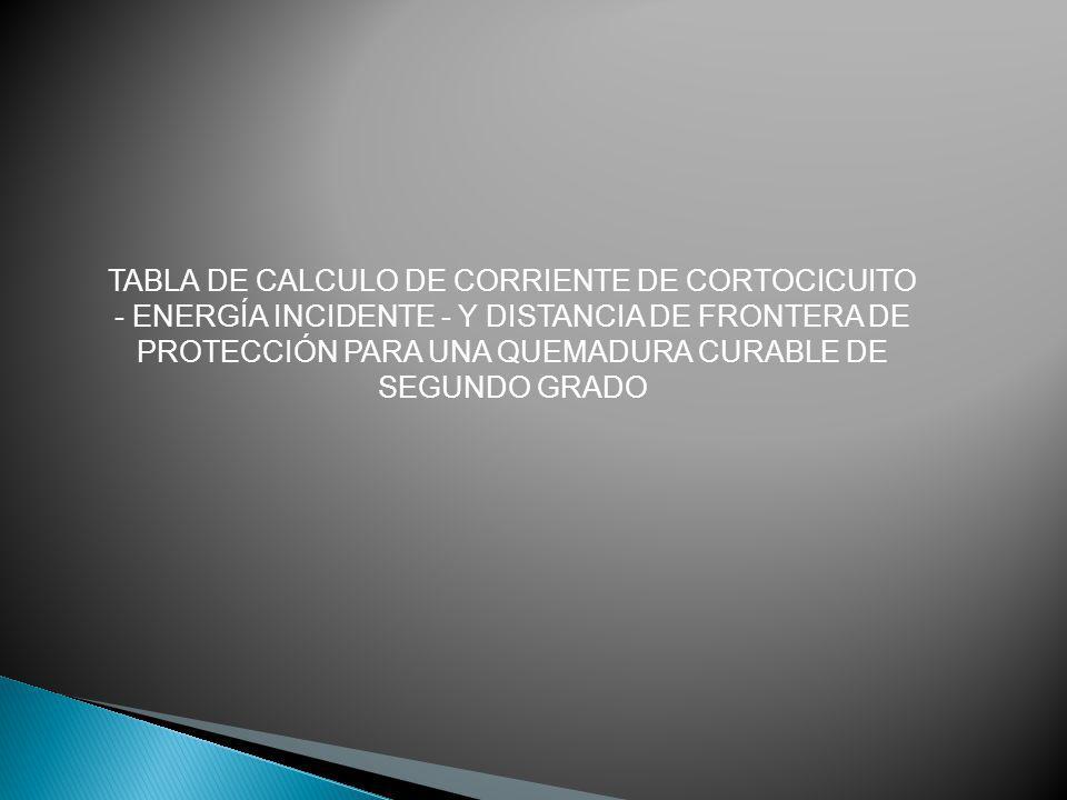TABLA DE CALCULO DE CORRIENTE DE CORTOCICUITO - ENERGÍA INCIDENTE - Y DISTANCIA DE FRONTERA DE PROTECCIÓN PARA UNA QUEMADURA CURABLE DE SEGUNDO GRADO