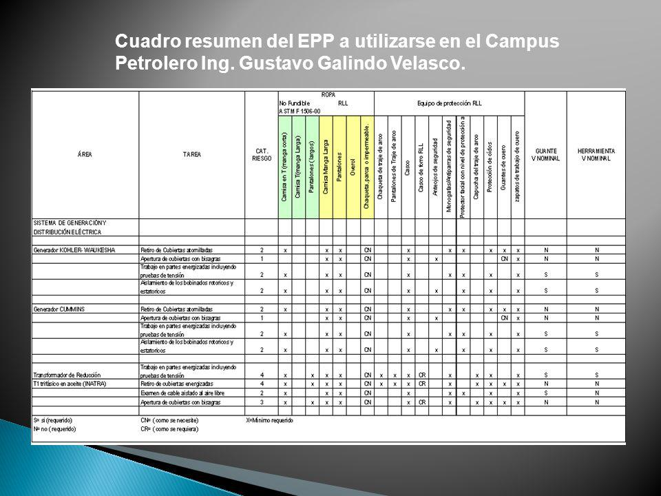 Cuadro resumen del EPP a utilizarse en el Campus