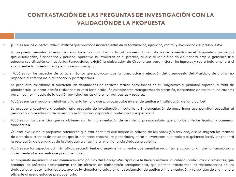 CONTRASTACIÓN DE LAS PREGUNTAS DE INVESTIGACIÓN CON LA VALIDACIÓN DE LA PROPUESTA