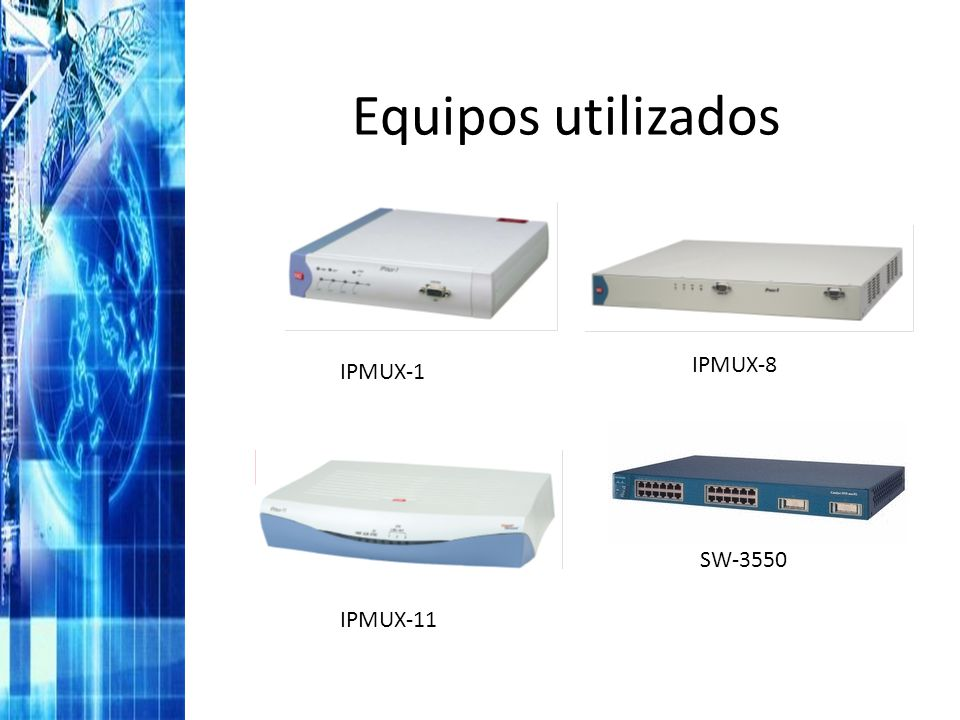 Equipos utilizados IPMUX-8 IPMUX-1 SW-3550 IPMUX-11