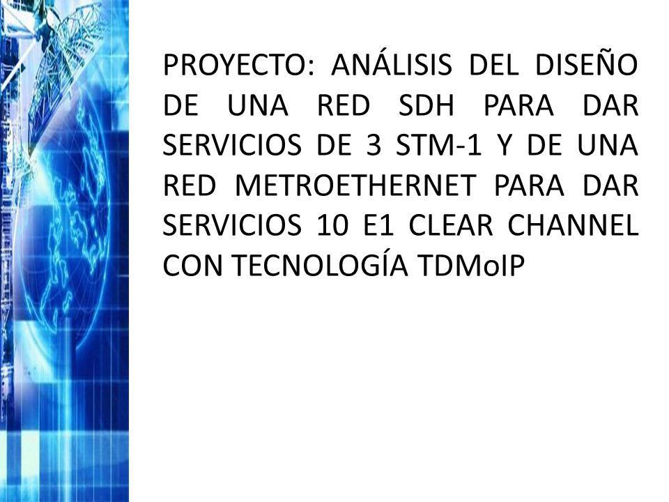 PROYECTO: ANÁLISIS DEL DISEÑO DE UNA RED SDH PARA DAR SERVICIOS DE 3 STM-1 Y DE UNA RED METROETHERNET PARA DAR SERVICIOS 10 E1 CLEAR CHANNEL CON TECNOLOGÍA TDMoIP