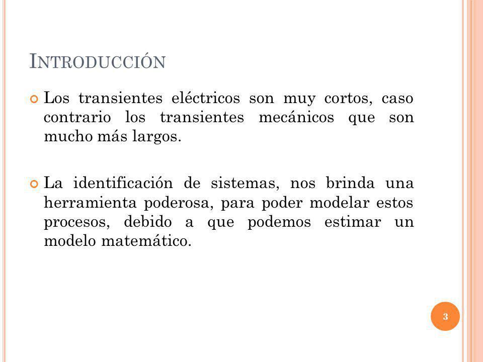 Introducción Los transientes eléctricos son muy cortos, caso contrario los transientes mecánicos que son mucho más largos.