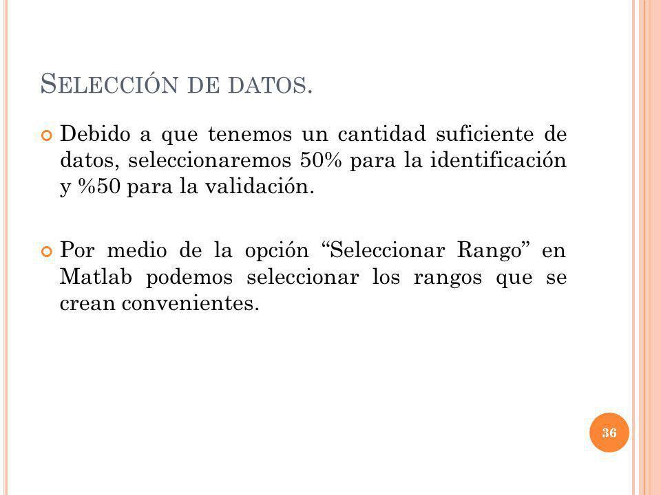 Selección de datos. Debido a que tenemos un cantidad suficiente de datos, seleccionaremos 50% para la identificación y %50 para la validación.