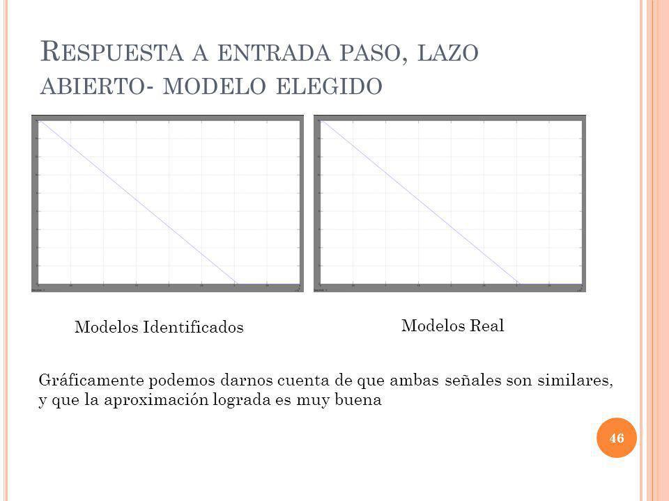 Respuesta a entrada paso, lazo abierto- modelo elegido