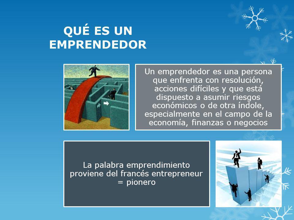 La palabra emprendimiento proviene del francés entrepreneur = pionero