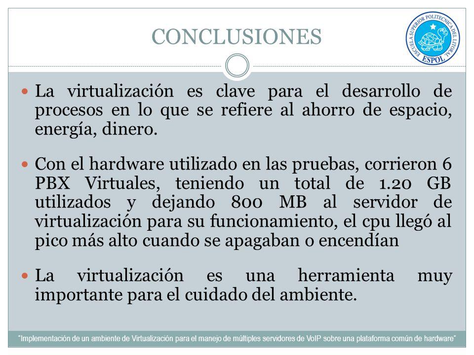 CONCLUSIONES La virtualización es clave para el desarrollo de procesos en lo que se refiere al ahorro de espacio, energía, dinero.