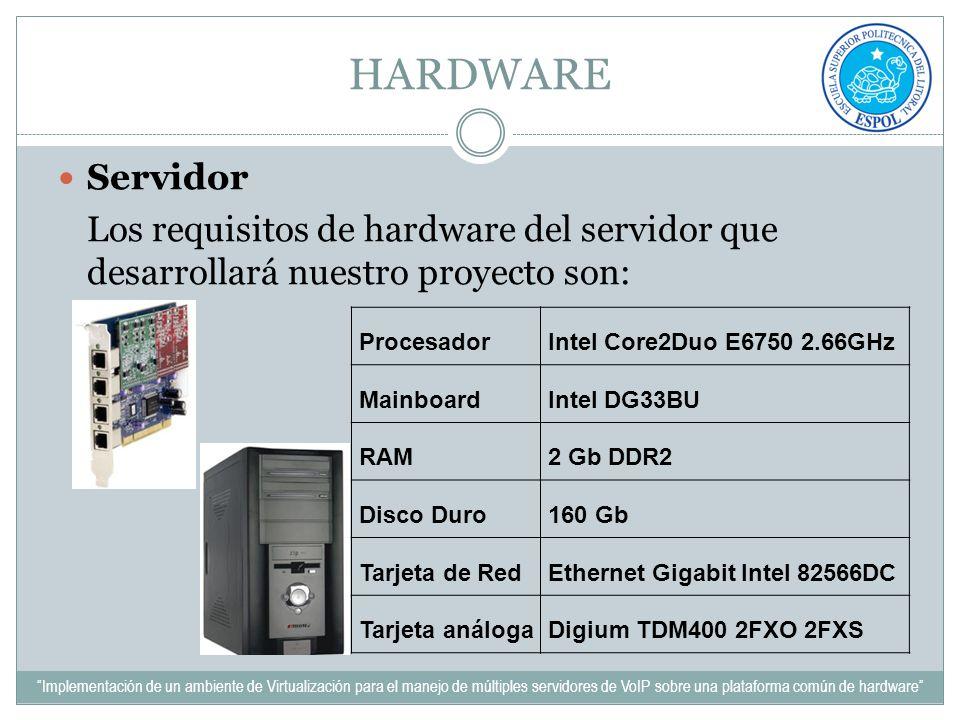 HARDWARE Servidor. Los requisitos de hardware del servidor que desarrollará nuestro proyecto son: Procesador.