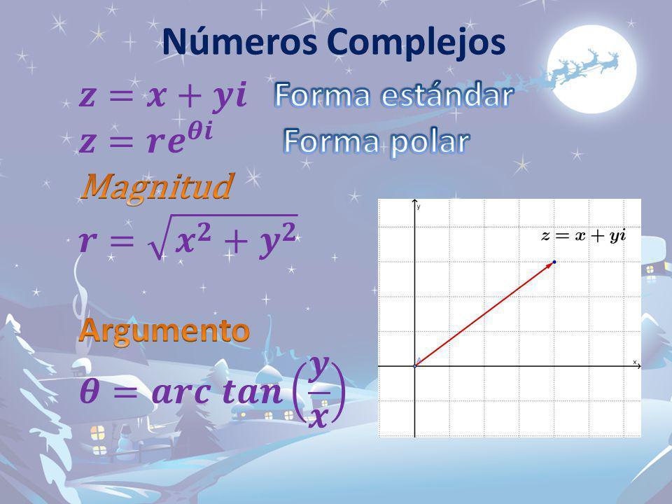 Números Complejos 𝒛=𝒙+𝒚𝒊 Forma estándar 𝒛=𝒓 𝒆 𝜽𝒊 Forma polar Magnitud
