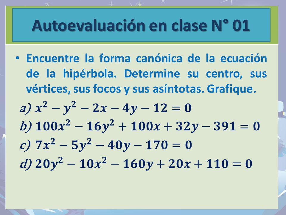 Autoevaluación en clase N° 01