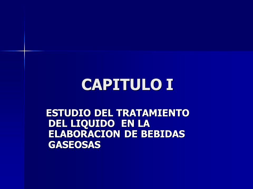 CAPITULO I ESTUDIO DEL TRATAMIENTO DEL LIQUIDO EN LA ELABORACION DE BEBIDAS GASEOSAS