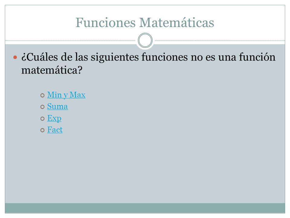 Funciones Matemáticas