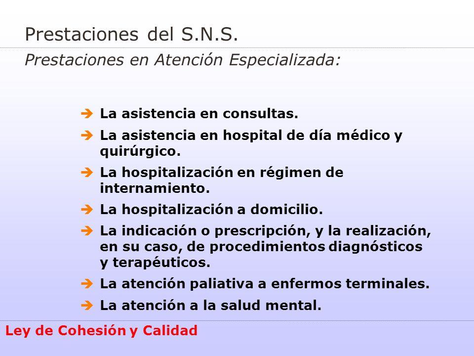 Prestaciones del S.N.S. Prestaciones en Atención Especializada: