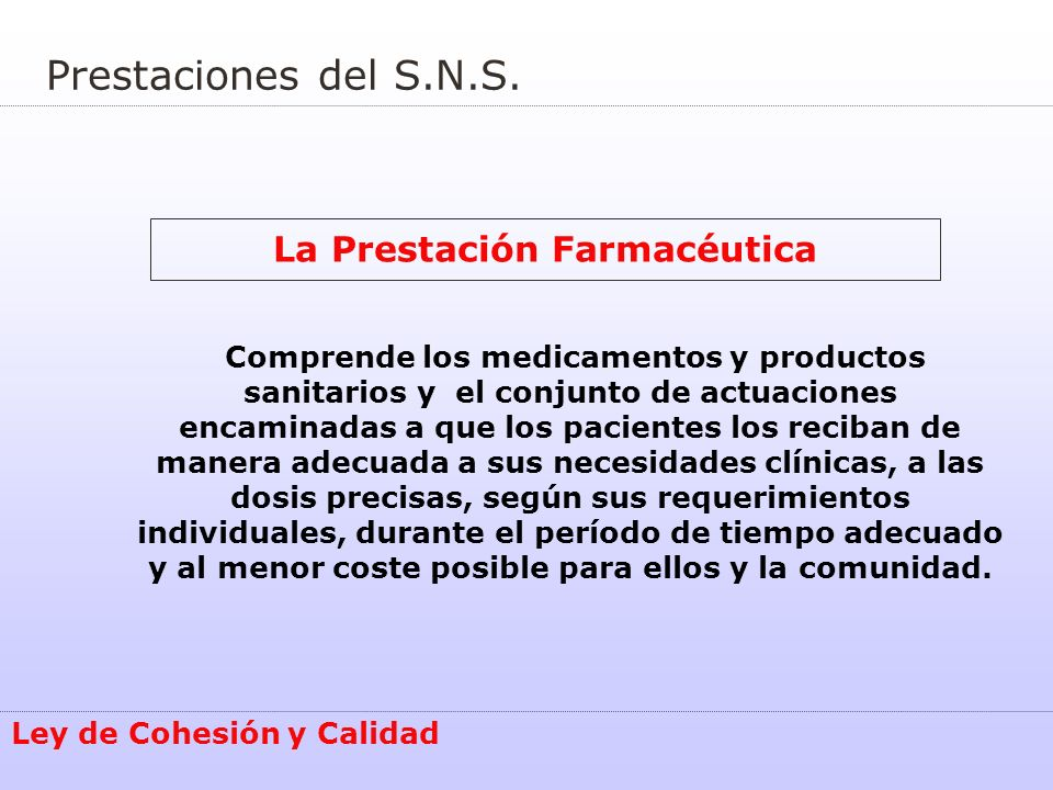 La Prestación Farmacéutica