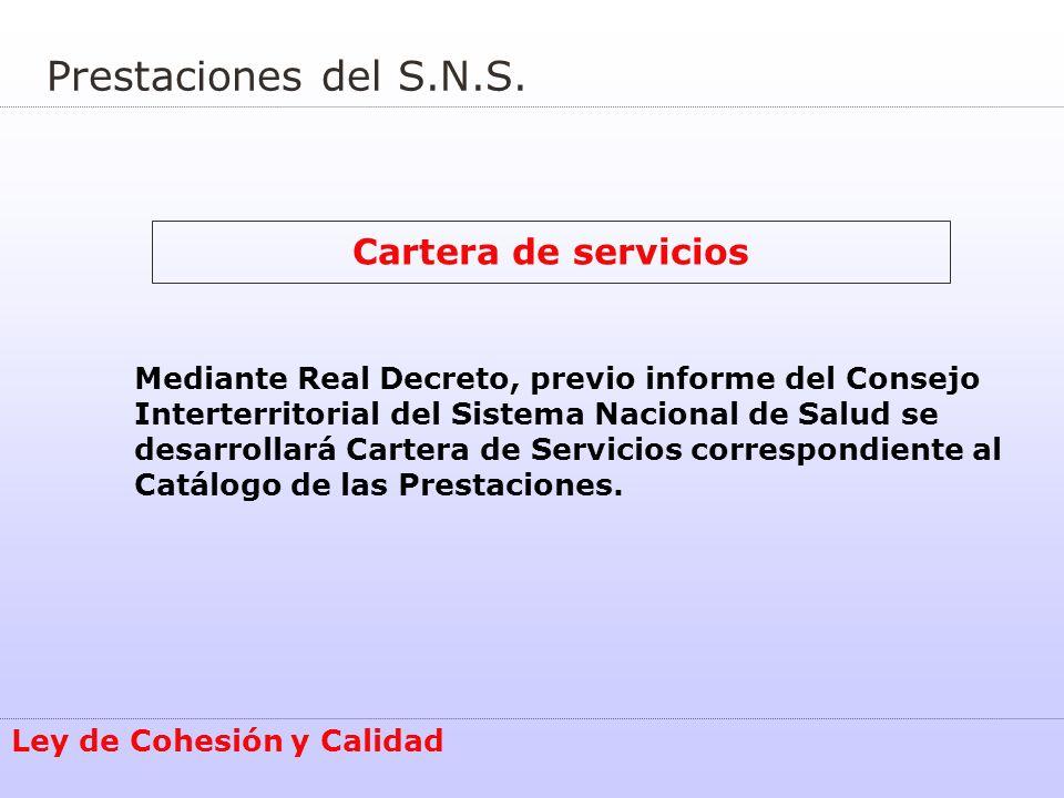 Prestaciones del S.N.S. Cartera de servicios