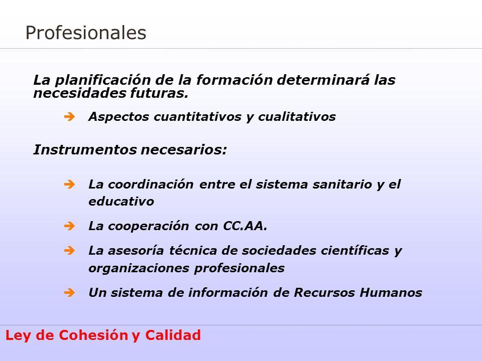 Profesionales La planificación de la formación determinará las necesidades futuras. Aspectos cuantitativos y cualitativos.