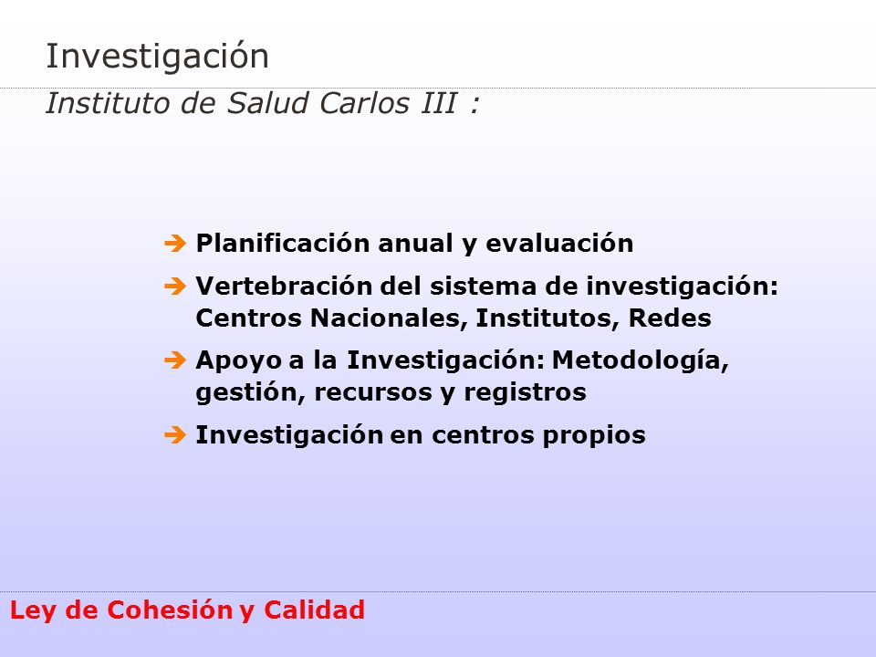 Investigación Instituto de Salud Carlos III :