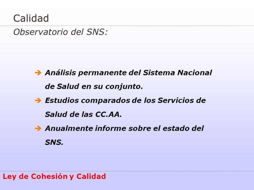 Calidad Observatorio del SNS: