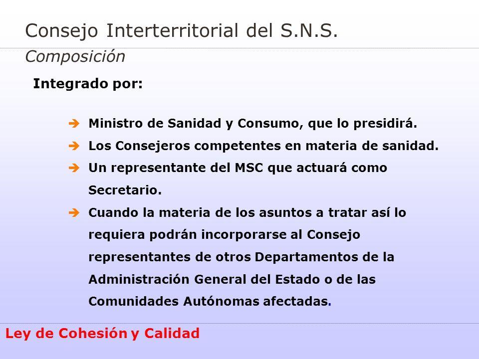 Consejo Interterritorial del S.N.S. Composición