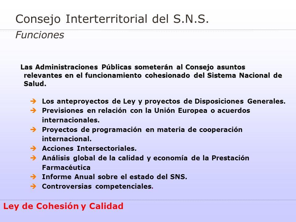 Consejo Interterritorial del S.N.S. Funciones