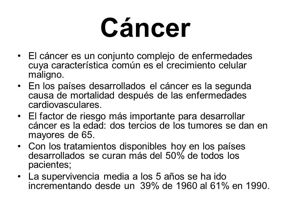 Cáncer El cáncer es un conjunto complejo de enfermedades cuya característica común es el crecimiento celular maligno.