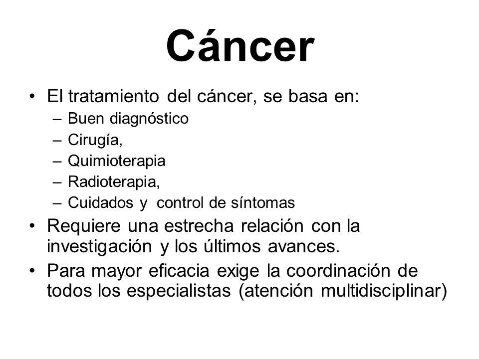 Cáncer El tratamiento del cáncer, se basa en: